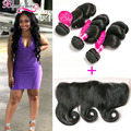 3 Bundles Brazilian Loose Wave With Closure 13x4 Lace Frontal Closure With Bundles Loose Wave Brazilian Virgin Hair With Frontal