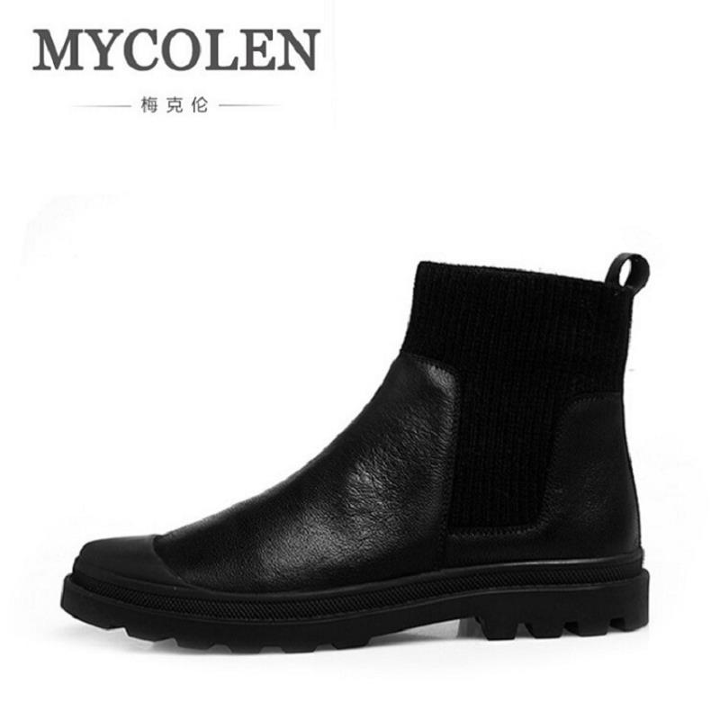 MYCOLEN Europe Styles Men's Leather Martin Boots High Quality Chelsea Boots Black Comfortable Brown Winter Men Shoes Erkek Bot pathfind men boots chelsea boots martin man tooling military genuine leather casual shoes brown black british men s boots boty