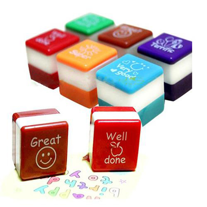 US $0 92 25% OFF|1 New School Mini Teachers Stamper Self Inking Praise  Reward Stamps Motivation Sticker For Kids Party Office Stationery  Supplies-in