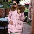 Real Gran Mapache cuello de Piel de 2016 Nueva Moda de Invierno de Algodón acolchado chaqueta Caliente Larga de Las Mujeres Parka Abrigo de Invierno Femenina chaqueta