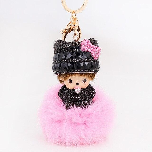 Cute Monchichi Dolls Leather Keychain Fur Rabbit Ball Key Ring Porte Clef Woman Bag Key Chain