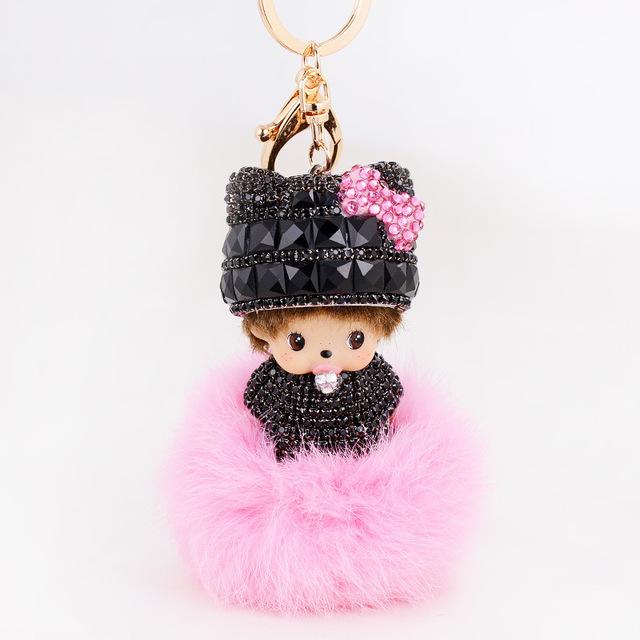 Lindo Monchichi muñecas llavero de cuero de piel de conejo llavero pelota Porte clave de sol mujer bolsa llavero