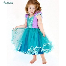купить Tonlinker Kids Girls Princess Dress Halloween Mermaid Cosplay Costume Children Fancy Party Dress Christmas Clothing Vestidos онлайн