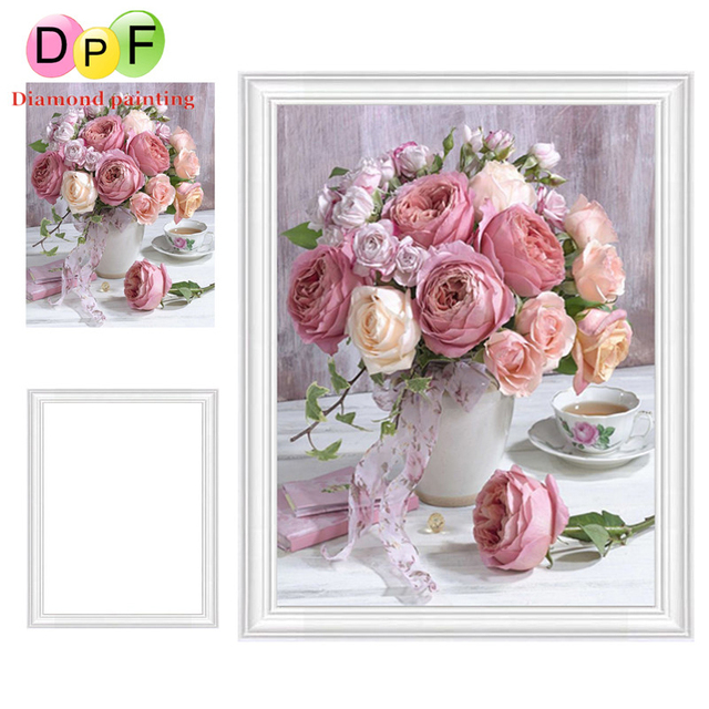 4492b13359 DPF Framed Diamond Embroidery mosaic Round full Rose Diamond Painting  Diamond Cross Stitch Rhinestone kits home Decor painting