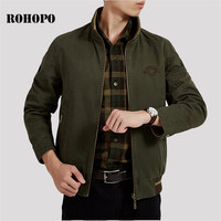 ROHOPO Inner and outwear thick cotton coat men,Elasticity Waist Cuff Nature Cotton Wear Man Cargo Jacket,Stand Collar Tooling