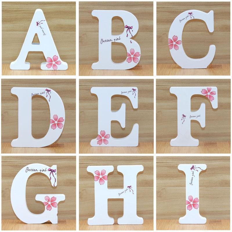 1 шт. 10 см английские деревянные буквы декоративные белые бабочки Алфавит украшения поделки деревянные буквы надписи Свадебные цифры DIY