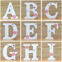 1pc 10cm inglês letras de madeira decorativas borboleta branca alfabeto ornamentos artesanato letras de madeira números de casamento diy Letras e números decorativos     -