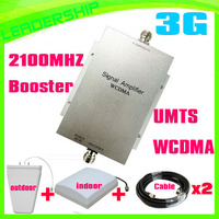 Free Shipping Wholesale WCDMA950 2100Mhz 3G Mobile Phone Signal Repeaters With Ceiling Antenna And Panel Antennas