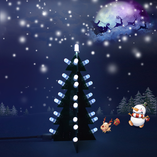 Diy Star Flashing Christmas Tree Electronic Learning Kit D Led Light Decoration Module Switching Different Effect