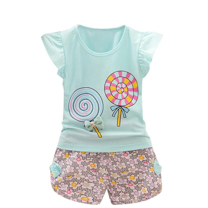 2017 cute summer Toddler Kids Baby Girls Outfits Lolly  Lollipop T-shirt Tops+Short Pants Hot Pink Clothes Set  P30 baby clothes