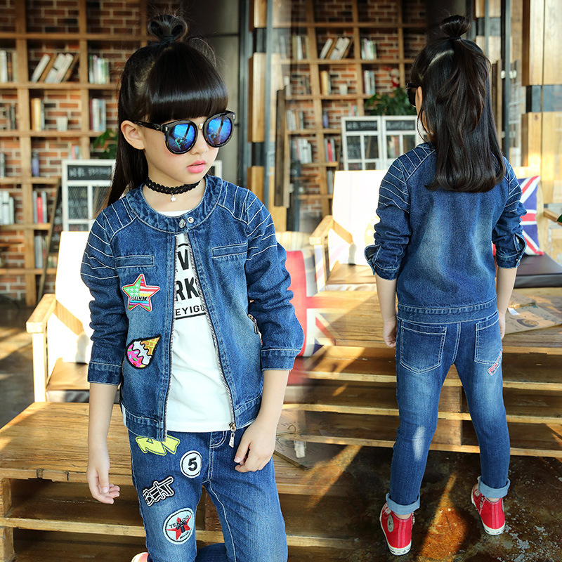 2017 Spring and Autumn Girl fashion printing cowboy clothing suit children stars without collar two piece set 2016 autumn and spring new girl fashion cowboy short jacket bust skirt two suits for2 7 years old children clothes set