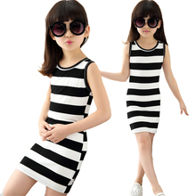 Summer Girl Clothes Dress Cotton Black And White Striped Print Elastic Force Vestido Infantil 2-8 Y Child Quality Clothing 2019