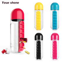 2 in 1 Portable Medicine Organizer Water Bottle Outdoor 7 Compartments Pill Box With Drinking Bottle