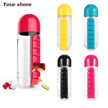 2 in 1 Portable Medicine Organizer Water Bottle Outdoor 7 Compartments Pill Box With Drinking Bottle Easy Carrying Bottles