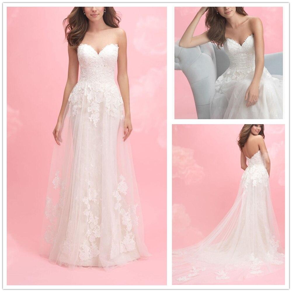 Ivory Sweetheart Neckline Dropped Appliques Seath  Custom-Made Court Train Ivory Backless Boho Bridal Gown Vestido De Noiva Long