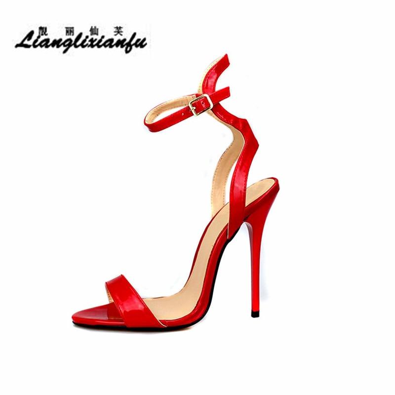 LLXF Stilettos Ankle Strap Sandals 14cm thin heels RED dress shoes woman Open Toe Cosplay SM pumps Plus:40-45 46 47 48 49 50 llxf plus size 40 44 45 46 47 48 49 50 summer stiletto ladies shoes sexy 13cm metal thin high heels sandals woman peep toe pumps
