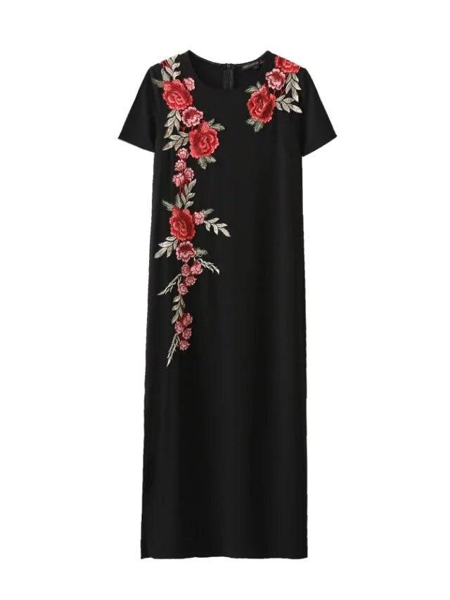 New Fashion Black Midi font b Floral b font font b Dresses b font Embroidered 817
