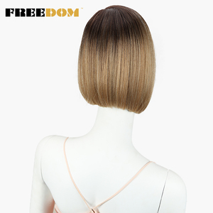 Image 5 - FREEDOM Colorful Short Straight Wigs For Black Women Ombre Dark Roots Brown Synthetic Lace Front Wig Natural Hair wigs Glueless
