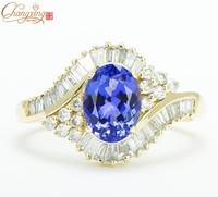 Top Sale Solid 14Kt Gold Natural 1 01ct Diamond Flawless Tanzanite Engagement Ring