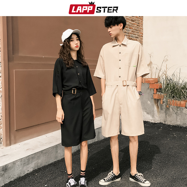 LAPPSTER Jumpsuit Men Harajuku Belt 2020 Summer Couple Women Jumpsuit Plus Size Black Cargo Overalls Pants Korean Style Fashion 50