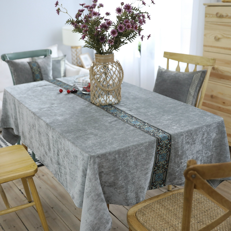 Green Luxury Embroidery Table Cloth Nordic Style High Quality Rectangle  Dining Home Decor Table Cover Wedding