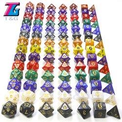 7 unids/set poliedro datos D & D Dados con efecto jaspeado y transparente D4 D6 D8 D10 D10 % D12 d20 Color claro jugando