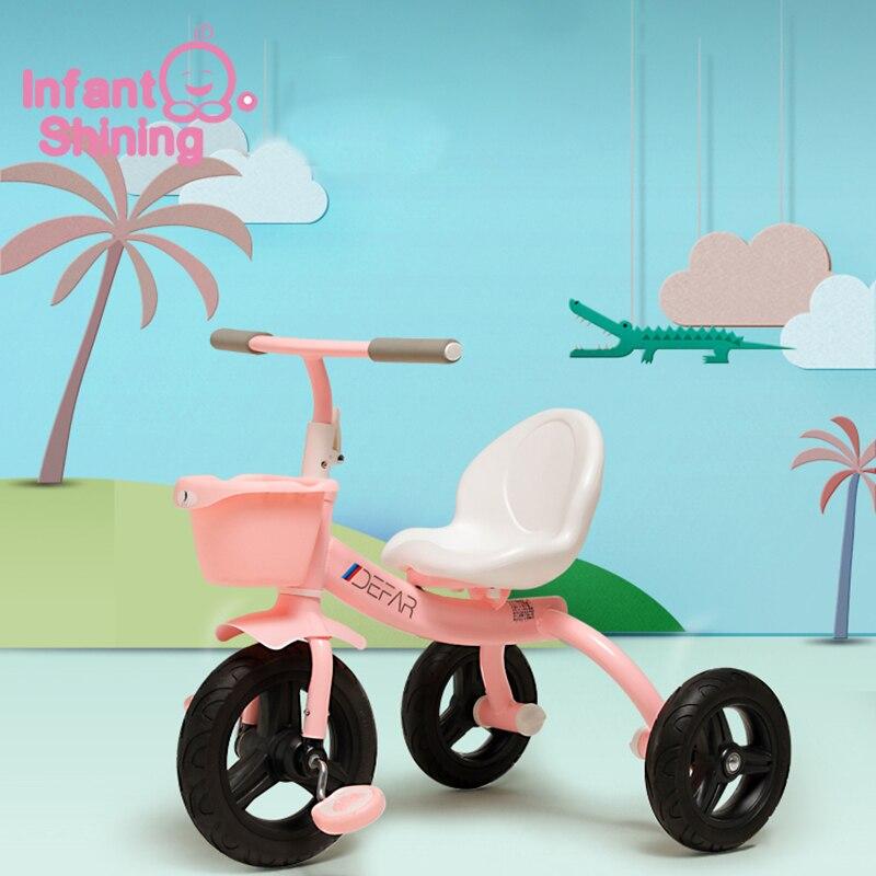 Bébé brillant bébé Balance vélo enfants marcheur enfant Tricycle tour sur jouets trois roues Scooter Portable pédale pour 3-7y