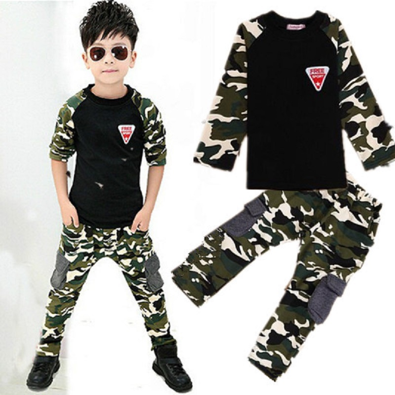 2PCS Camouflage tops+pants cotton T shirt boys girls tracksuit baby boys clothing kids clothes girls for 2 3 5 6 8 9 years boys  2017 children clothes kids t shirts adventure time 100% cotton white t shirt for boys and girls tops baby tshirt free shipping