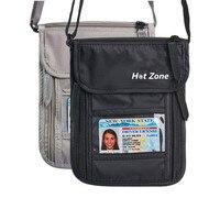 Colgando Del Cuello Paquete de Pasaporte Paquete de Documentos de Múltiples Funciones Del Pasaporte Impermeable Desgaste Monedero RFID Antirrobo Dropship