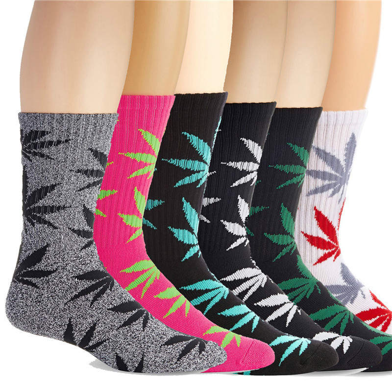 Newest Fashion Spring Maple Leaf Socks Printed Weed Skateboard Hip Hop Socks Meias Unisex 3D Couple Men/women Socks 1 Pairs