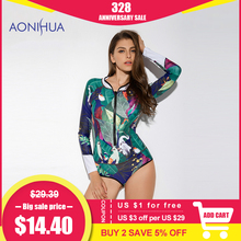 Купить с кэшбэком AONIHUA 2018 Design Art Printing Swimsuit Women Leaf Birds One Piece Swimwear female Push up Long sleeve swimming Suit 9012