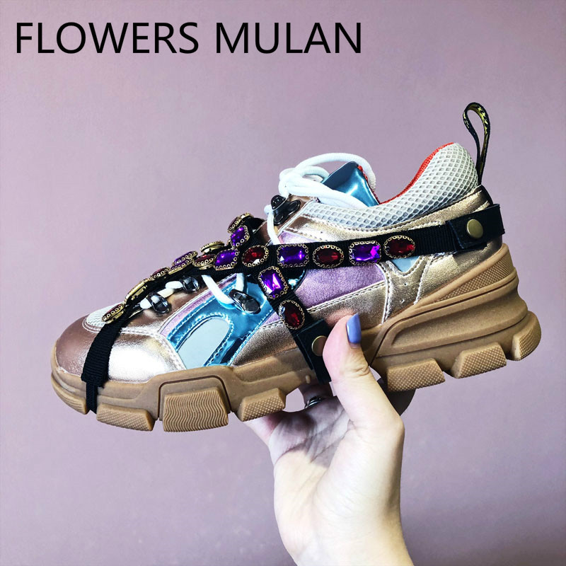Luxury Colorful Rhinestone Woman Sneakers Round Toe Lace Up Flats Casual Shoes Ruwnay Platform Trainers Shoes zapatos de mujer 2016 hot low top wrinkled skin cockles trainers kanye west chaussure flats lace up mens shoes zapatos mujer casual shoes