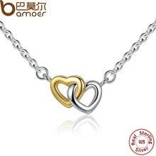 Bamoer unidos en el amor de plata de ley 925 collar y colgante para las mujeres collar de cadena de plata y pequeñas psn011