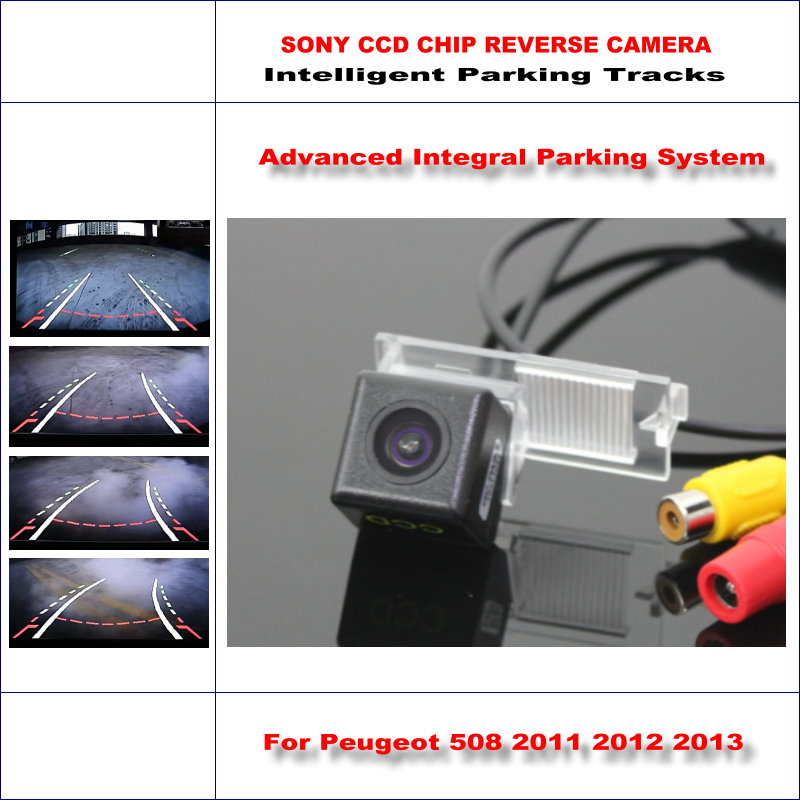 HD CCD SONY Rear Camera For Peugeot 508 2011 2012 2013 Intelligent Parking Tracks Reverse Backup