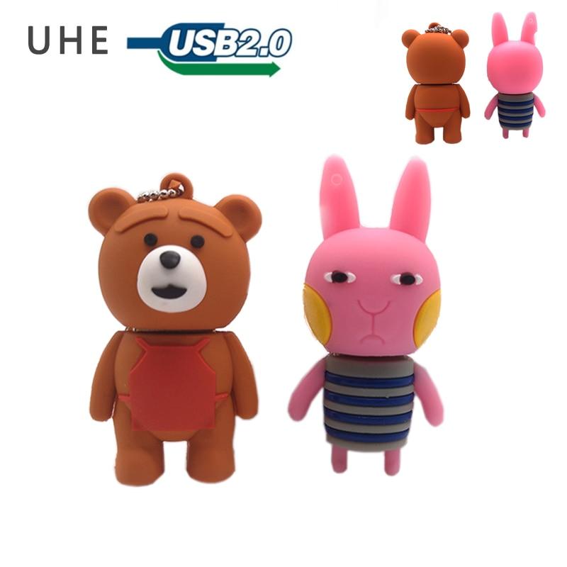 USB stick pendrive cartoon rabbit usb flash drive 4GB 8GB 16GB 32GB 64GB cute bear baby memory stick creative gift pen drive