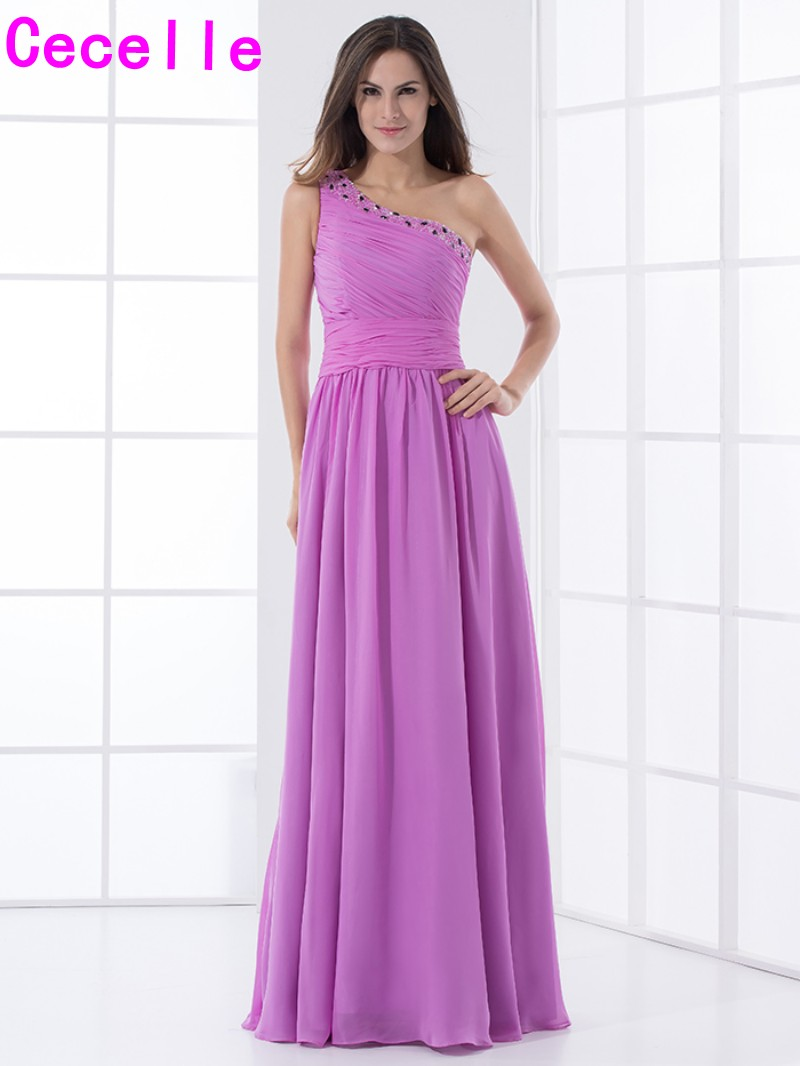 Online get cheap lilac bridesmaid dresses one shoulder aliexpress lilac chiffon long bridesmaid dresses one shoulder pleats chiffon beaded a line wedding party gowns ombrellifo Images
