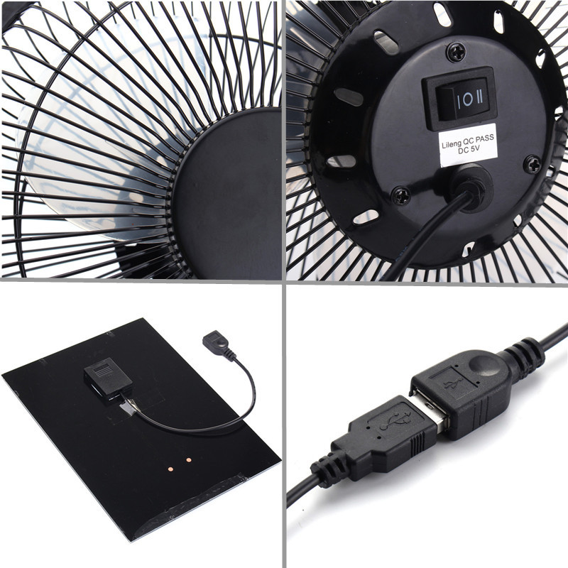 16.6cm x 25.5cm Black Solar Panel Powered 120cm USB 5.5W Iron Fan 8Inch Cooling Ventilation Car Cooling Fan for Outdoor Indoor usb powered flexible neck cooling fan black