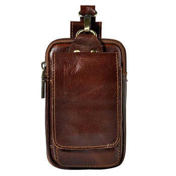Men Cowhide Leather Fanny Waist Bag Belt Holder Pocket Cigarette Case Coin Purse Military Male Pack Pouch