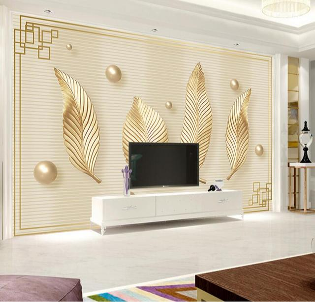 Abstract Photo Wall Mural Gold Leaves Leaf Style Wallpaper Rolls For Living  Room TV Background Office