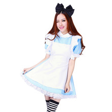 Halloween Maid Costumes Womens Adult Alice in Wonderland Costume Suit Maids Lolita Fancy Dress Cosplay Costume for Women Girl