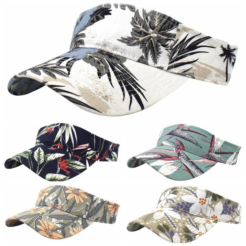 Hot Outdoor Summer Sport Top Air Caps Men Women Breathable Print Visor Cap Adjustable Sun Visors Golf Tennis Running Hat