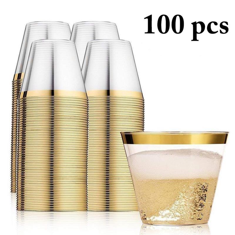 100 個ゴールデンカラーウェディングパーティー使い捨てプラスチックカップジュースカップ DIY 装飾ベビーシャワーの子供の誕生日の結婚式の用品 -