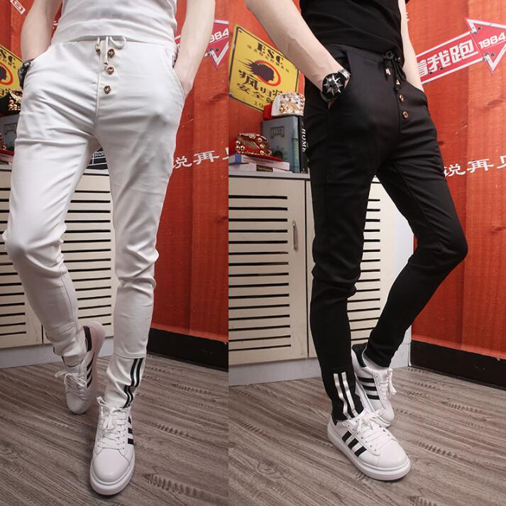 Casual personality fashion elastic harem pants mens trousers pantalones hombre cargo fee ...