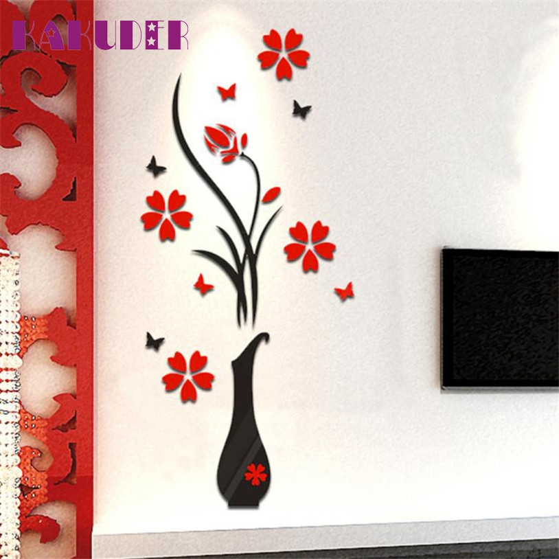 KAKUDER Wall Stickers Decal Home Decor DIY Vase Flower Tree Crystal Arcylic 3D Stickers For kids room u6930