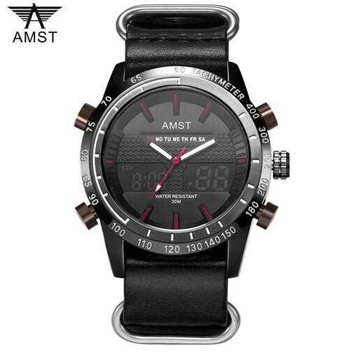 2019 AMST Brand Quartz Watch LED digital analog multi-function Military / Sports / Outdoor