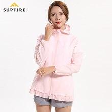 Supfire Running Cycling Jackets Sports Wind Coat Women Windproof Long Sleeve Jerseys Sunscreen Quick Dry Hooded Cardigan C012