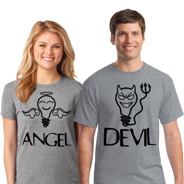 a2b2cd6897 EnjoytheSpirit Couple Tshirt Funny Couples Angel Devil Matching T Shirts  Valentine's Day Top Tee Unisex Short Sleeve 100% Cotton