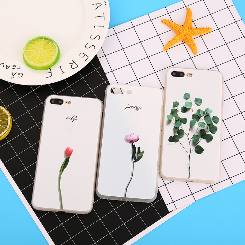 3D Relief Leaf Cartoon Case For iphone 7 Case Cute Plants Leaves Flower Soft TPU Back Cover For iphone 6 Plus 6S 8 7 Plus X case