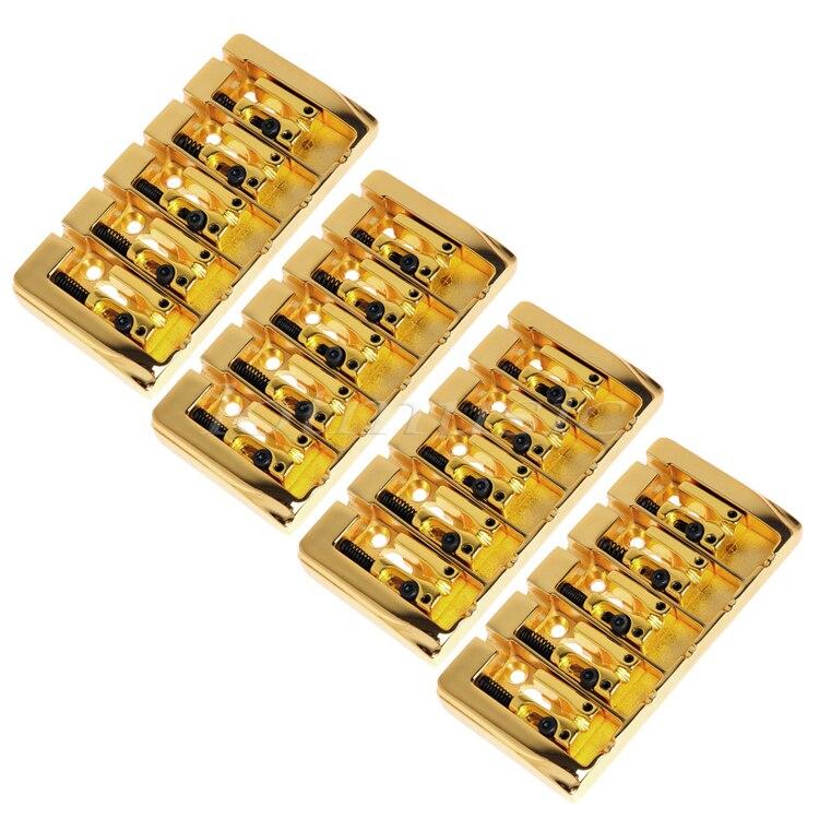 4 pièces 5 cordes pont carré selle plaqué or 19mm chaîne espace avec Srews Allen clé pour remplacement de guitare basse