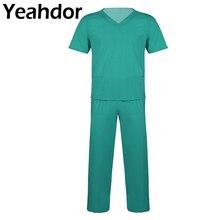 Взрослые мужские медицинские Медицинские костюмы с короткими рукавами Топ и длинные штаны с эластичной талией унисекс лабораторные костюмы для кормления 2 шт